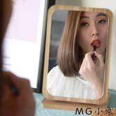 桌鏡化妝鏡 木質折疊化妝鏡子高清臺式梳妝鏡