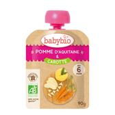 BABYBIO 有機蘋果胡蘿蔔纖果泥90g-法國原裝進口6個月以上嬰幼兒專屬副食品