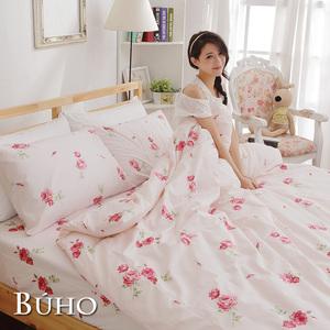 【BUHO】精梳純棉單人床包組+雙人被套三件組(夏日玫瑰-紅)