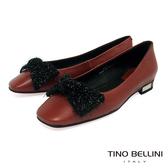 Tino Bellini冬日毛料蝴蝶結全真皮小方頭娃娃鞋_磚紅 VI8550