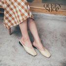 Queen Shop【05010346】簡約素色皮質半拖 三色售 23-25*現+預*