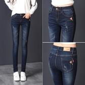 高腰牛仔褲女款新品新款大碼長褲顯瘦百搭黑色夏薄小腳褲子