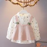 爆款熱銷女童襯衫女寶寶秋裝長袖襯衫毛線馬甲兩件套0-1-3歲女童秋裝上衣嬰兒衣服聖誕節