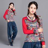 民族風上衣 秋季新款花色T恤復古百搭圓領印花修身顯瘦上衣 JA3502『毛菇小象』