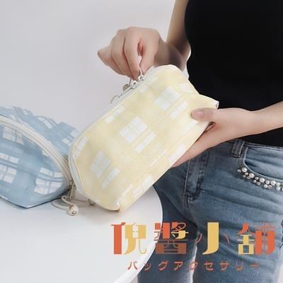 格紋大容量收納包洗漱包PU防水化妝包【倪醬小鋪】