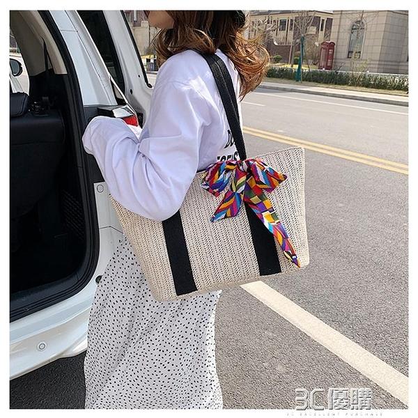 女包包2020春季新款日本草編包度假沙灘包大容量手提單肩側背包25 3C優購