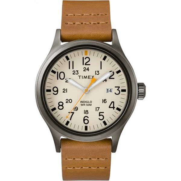 【TIMEX】天美時 遠征系列 超越巔峰登山探險手錶(米面/駝色錶帶 TXTW2R46400)