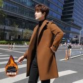 新款毛呢外套男秋冬風衣呢子大衣中長款韓版加絨冬季男裝妮子  蘑菇街小屋
