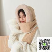 針織帽 帽子圍巾一體女冬甜美可愛成人少女心ins手套秋冬季帽子女冬 保暖 歐歐流行館