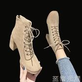 絨面短靴女新款百搭粗跟馬丁靴女系帶網紅高跟鞋秋冬季顯瘦潮