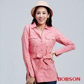 BOBSON 女款牛津布長版襯衫(36121-13)