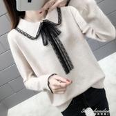 女蕾絲領毛衣新款寬鬆超火很仙上衣網紅慵懶風針織衫潮 黛尼時尚精品