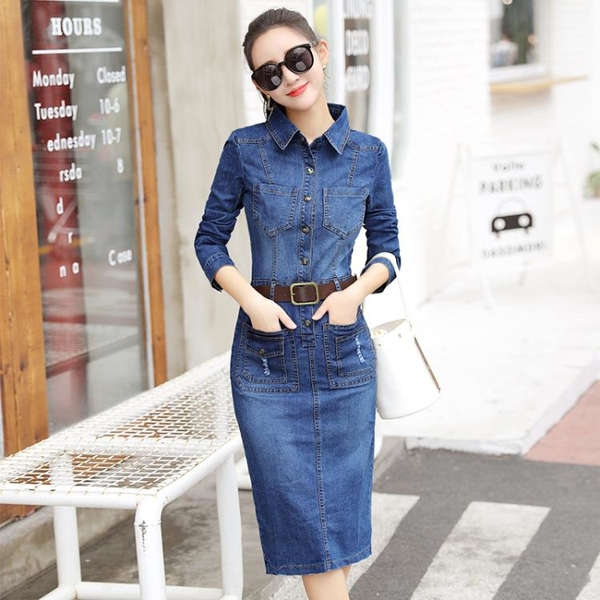 長袖洋裝 牛仔連身裙女裝新款韓版長袖修身顯瘦中長款包臂一步牛仔裙潮