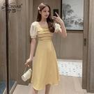 方領洋裝 2021年夏季韓版新款時尚收腰顯瘦方領A字裙氣質泡泡袖連身裙女潮 晶彩 99免運