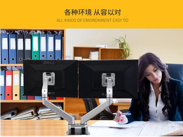 Thinkwise S203 雙螢幕支架 氣壓臂升降 夾桌穿桌二用