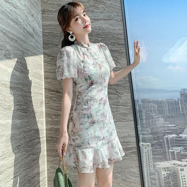 小洋裝 女裝溫柔初戀顯瘦印花裙子法式復古旗袍改良版連身裙N718紅粉佳人