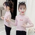 衣童趣(•‿•)新款韓版女童上衣 甜美櫻桃 條紋內搭衣 秋冬高領 木耳邊長袖百搭上衣