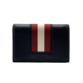 【台中米蘭站】全新品 BALLY 經典紅白條牛皮名片夾(6231901-黑)