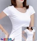 短袖T恤 素色T恤白色t恤女短袖純棉修身2021春夏季新款打底衫純色半袖T顯瘦上衣【寶貝 上新】