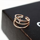 戒指 玫瑰金純銀 鑲鑽-經典十字架生日情人節禮物女飾品73by10【時尚巴黎】