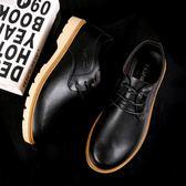 皮鞋—夏季新款男士黑色皮鞋韓版英倫男鞋潮流商務正裝皮鞋大頭休閒鞋子 依夏嚴選