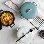 北歐風陶瓷帶蓋泡面碗啞光沙拉碗大湯碗日式拉面雙耳碗 全網最低價最後兩天