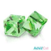 耳環 AchiCat 絢麗方塊 抗過敏鋼耳針 水晶 果凍綠 一對價格