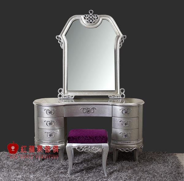 [紅蘋果傢俱] CT-20 新古典 化妝台 梳妝台 鏡台 實木雕花 金銀箔 數千坪展示