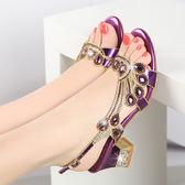 紫色/34號 粗跟涼鞋 女水鑽鑲鑽中跟羅馬鞋
