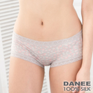 【岱妮蠶絲】蕾絲輕柔低腰平口蠶絲內褲(珠粉灰)