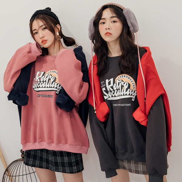 MIUSTAR 膠印Ret保暖內加金絲絨厚磅棉質上衣(共4色)【NH3212】預購