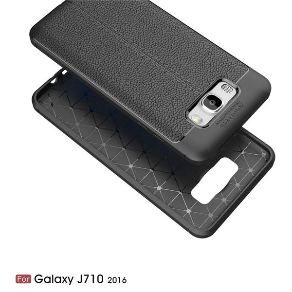 【萌萌噠】三星 Galaxy J7/J5/J3 Pro 2016  創意新款荔枝紋保護殼 防滑防指紋 網紋散熱設計 全包軟殼