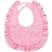 Cutie Bella印花布 純棉 荷葉邊 花邊防水圍兜/口水巾-Pink-Edelweiss Flower 小花