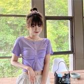 短袖女夏韓版修身顯瘦復古冰絲針織上衣高腰短款衫  【快速出貨】