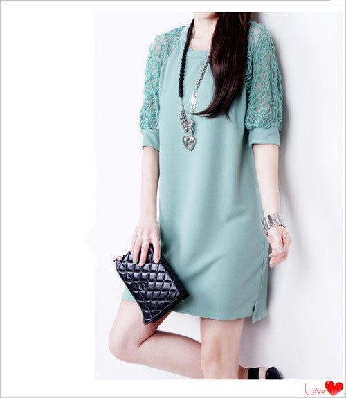 ✿ 3C膜露露 ✿韓版蕾絲露肩中袖百搭A字裙連身裙洋裝