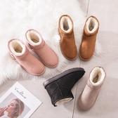 雪地靴女2019新款時尚冬季短筒靴子百搭網紅一腳蹬加厚底保暖棉鞋  依夏嚴選
