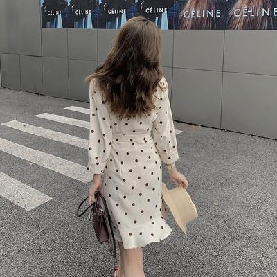 洋裝大碼連身裙甜美小清新收腰顯瘦方領波點七分袖連身裙女 2F-B40 胖妹大碼女裝