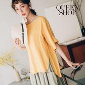Queen Shop【01095880】素色前短後長荷葉袖開衩上衣 兩色售*預購*