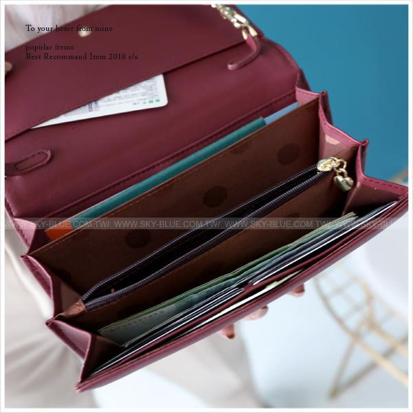 斜背包-韓版拉鏈造型長夾/手機小包-共6色-A17172279-天藍小舖