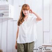 【Tiara Tiara】激安 背蕾絲花拼接寬版襯衫上衣(白/藍)