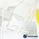 FU飾品 925純銀 聖誕節 禮物 歐美意大利流行 晶鑽小葉子LOVE字母925純銀項鍊【Fulgor Jewel】