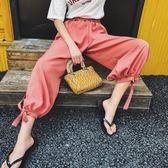 (超夯免運)雪紡燈籠褲女夏季新款大尺碼寬鬆高腰側開叉休閒九分闊腿褲 S-L