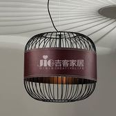 [吉客家居] 吊燈 工業鐵藝皮革吊燈 A款 金屬烤漆造型時尚後現代工業餐廳民宿咖啡館居家D