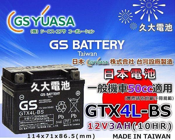 【久大電池】 GS 機車電池 機車電瓶 GTX4L-BS MAN BOY 50 豪美 50 風神 DJ 50 翔鶴 50
