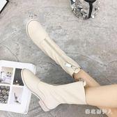 中筒靴 2018秋季新款前拉鏈英倫風馬丁靴歐美粗跟女騎士靴復古中筒短靴女 CP850【棉花糖伊人】