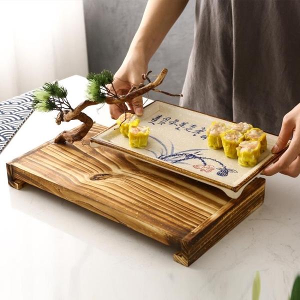 創意根雕明檔冷菜大盤實木意境菜酒店中式特色異形裝飾火鍋店餐具 熊熊物語