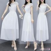 雪紡連身裙女夏2020新款顯瘦氣質長裙白色仙女裙中長款超仙長洋裝 LF4881【Rose中大尺碼】