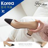 (三月份後供應)跟鞋.皮革拼接絨質方頭高跟鞋-FM時尚美鞋-韓國精選.Hope