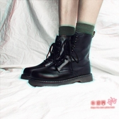 馬丁靴 秋冬馬丁靴女英倫風學生厚底透氣機車靴子女短靴筒chic工裝靴薄款 1色35-40碼 雙12提前購