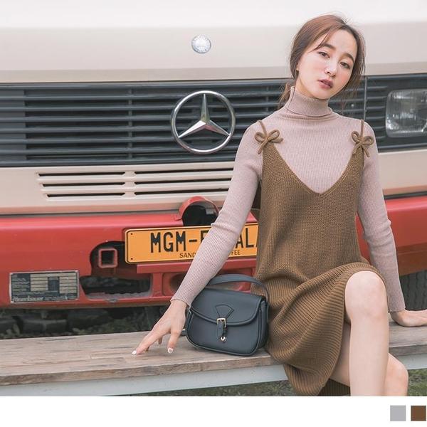 《FA2192-》蝴蝶結裝飾細肩帶粗針織背心洋裝 OB嚴選